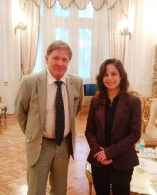 Embajador de Rusia en Mexico Victor Koronelli - Presidenta El Faro Dora Gonzalez